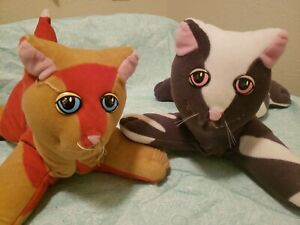 2 Vintage Pound Purries Kitty Cats Lot Set Plush Toy Dolls Animals 80's 1980's