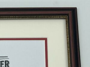 Diploma Certificate Frame - Double Mat - Mahogany/Gold Lip - Solid Wood