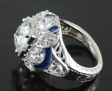 Xavier 3.9ct Absolute Blue Enamel Floral Sterling Silver Ring - Size 5