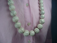 Kette Ethno Look ✿ Boule Blanc Holz lackiert ✿ WEISS Halskette Necklace Collier