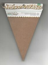 Brown Kraft Gold White String Paper Garland Triangle Pennant Banner Party New