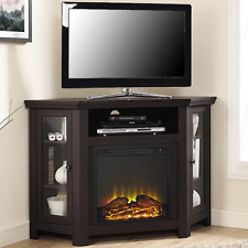 Electric Corner Fireplace TV Stand Espresso Media Wood Console Heater Display Ca