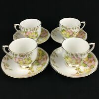 Set of 4 VTG Cups and Saucers by Roslyn Bone China Azalea Yellow Pink England