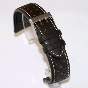 Di Modell Rallye Brown Watch Strap : White Stitch (P7)