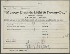 1900s Monticello (Thompson) New York Murray Electric Light & Power Co. Billhead