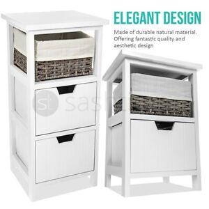 Wooden Bedside Cabinet Unit Table with Wicker Basket 2/3 Drawer Storage Bathroom