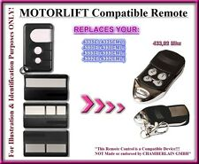 Motorlift 4330EML, 4332EML, 4333EML, 4335EML compatible remote control 433,92Mhz