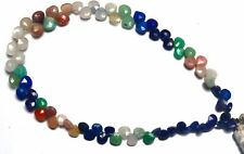 Natural Mix Semi-Precious Gemstone Faceted Heart Briolette Beads Strand 8.5""