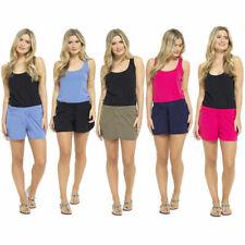 Ladies Womens Cotton Rich Beach Summer Shorts UK Size 8 10 12 14 16 18 20 22