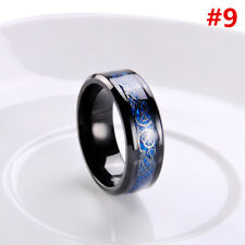 8mm Silvering Celtic Dragon Tungsten Carbide Ring Mens Jewelry Size7-10 Fashion Blak Blue #9