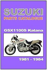 SUZUKI Parts Manual GSX1100S GS1100S Katana 1981 1982 1983 & 1984 Spares Catalog