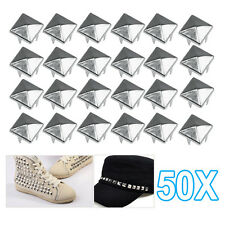 50 DIY Pyramid Square Studs Spike Spots Tacks Nailhead for Dog Collars Punk Goth