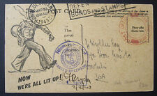 1943 Hawaii Maritime Mail Ship Censored Over-seas League Tobacco Fund Postcard