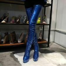 Plus SUPER Women Over-Knee Boots Platform Heels Boots Black Shoes Plus Size 4-20