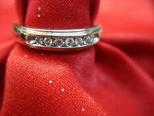 14K WHITE GOLD DIAMOND WEDDING BAND WITH 7 SPARKLY DIAMONDS - NICE