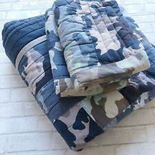 Pottery Barn Teen Blue Camo Camouflage Full Quilt And 2 Shams