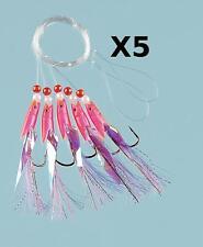 5 Pink Hokki Purple Tail Sea Fishing 5 Hook Rig 3/0 Hooks for cod and mackerel