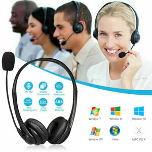 USB Wired Call Center Headset Noise Cancelling Headphone with Microphone MIC UK