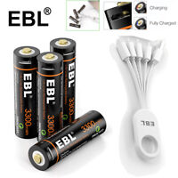 4pcs USB Rechargeable AA Li-on Battery 1.5V 3300mWh with Micro Charging Cable US