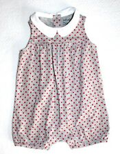 BABY GAP Gray Red White Polka Dot Romper Peter Pan Collar Girl Size 3-6 Months