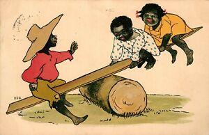 ETHNIC BLACK CHILDREN - SEESAW BY HUS - HILDESHEIMER POSTCARD 1905