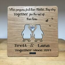 Personalised Engraved Oak Plaque 5 Yr Anniversary Wood Gift Cute Penguins