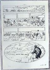Hergé Tintin au Tibet Copie de Bleu d'imprimerie Planche 63 Format A3 Superbe !