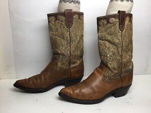 VTG MENS UNBRANDED SNIP TOE COWBOY BROWN BOOTS SIZE 10.5 D