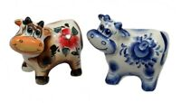 Lot of 2 RUSSIAN PORCELAIN FIGURINES of an OX - 2021 is the Year of the OX