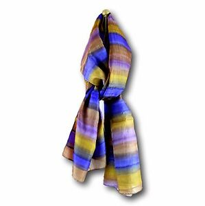 Handmade 100% Silk Ribbed with Stripes Scarf Shawl 20x70 Copper Blue