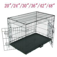 "20""/24""/30""/36""/42""/48"" Pet Cat Dog Folding Steel Crate Playpen Wire Metal Cage"