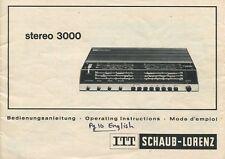 ITT SCHAUB-LORENZ STEREO 3000 Original Owners Manual English, French, German