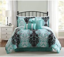 NEW Downton 7-Piece Comforter Set BEDDING SHAMS Aqua/Gray/Black FULL/QUEEN SIZE