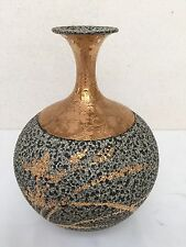 Contemporary Japanese Gilded Ceramic Vase In Hand-painted Floral Motif