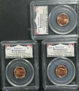 2009-D 1C Lincoln Early Bicentennial First Day Of Issue PCGS MS65RD MS66RD 3SET