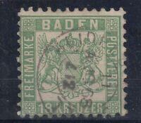 X2278/ GERMANY - BADEN – MI # 21a USED + CERTIFICATE STEGMÜLLER BPP – CV 770 $