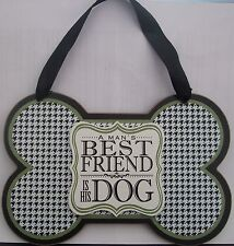 """Wooden Plaque """"A Man's Best Friend Is His Dog"""" Boxed ready for a gift"""