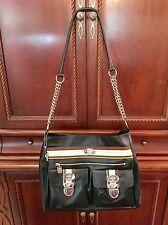 Christine Price Lg Black Leather Canvas Shoulder Travel Carry On