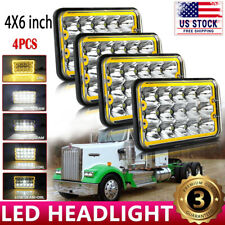 Black DOT 4pcs 4x6'' Halo LED Headlight For Peterbilt 357 378 379 Straight Truck