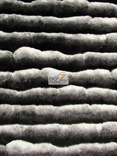"FAUX FAKE FUR STRIPE FRENCH TISSAVEL LIKE FABRIC - Black/White - 60"" WIDE YARD"