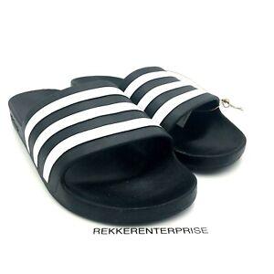 New ADIDAS Adilette Aqua Size 12 Black / White Athletic Slide Men's Sandals