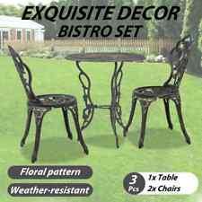vidaXL 3 Piece Bistro Set Cast Aluminium Outdoor Garden Balcony Table Chair