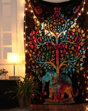 Twin Elephant Tapestry Psychedelic Wall Hanging Bohemian Hippie Throw Decor Art