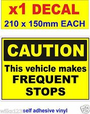 Caution This Vehicle Makes Frequent Stops Sticker Bus Camion lorry van car Décalque