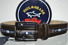 PAUL & SHARK BELT LEATHER SIZE 140 shortened  Gürtel  6100 013 BROWN WITH BOX