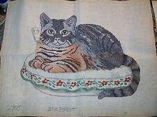 New listing Eva Brent Vintage Cat Needlepoint Needlework Kit #2705 Pearl Cotton floss