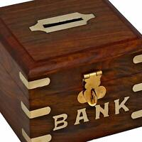 Wooden Piggy Bank Safe Money Box Savings With Lock Wood Carving Handmade