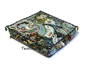 "24"" Indian Black Handmade Kantha Cushion Cover Home Décor Floor Cushion Cover AU"