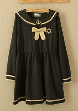 NEW Women Japanese Fashion Himekaji Gyaru Sailor Uniform Anchor Bow Navy Dress