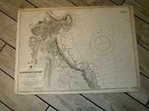 Vintage Admiralty Chart 1624 ENGLAND - SCARBOROUGH BAY 1915 edn